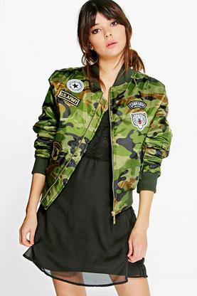 Erin Camo MA1 Bomber With Badges