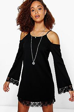 Lola Lace Trim Cold Shoulder Dress