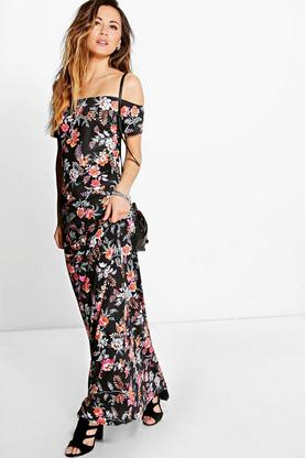 Carolina Floral Off The Shoulder Maxi Dress