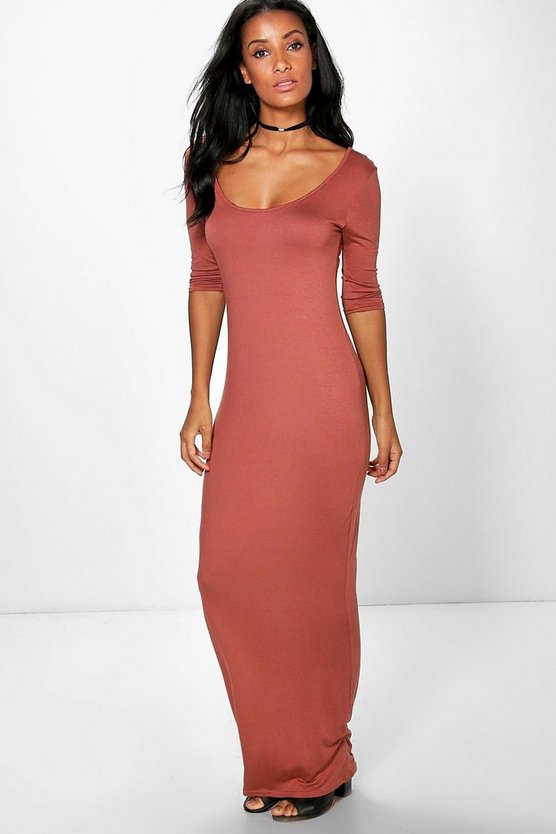 Shelly 3/4 Sleeve Scoop Neck Maxi Dress