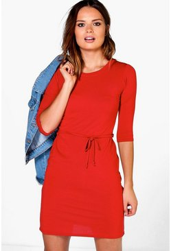 Annie 3/4 Sleeve Tie Waist Shift Dress