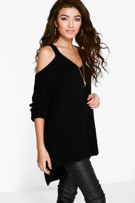 Laura V Neck Cold Shoulder Jumper