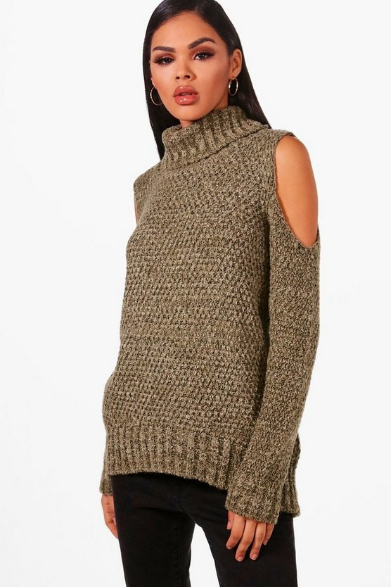 Lola Roll Neck Cold Shoulder Jumper