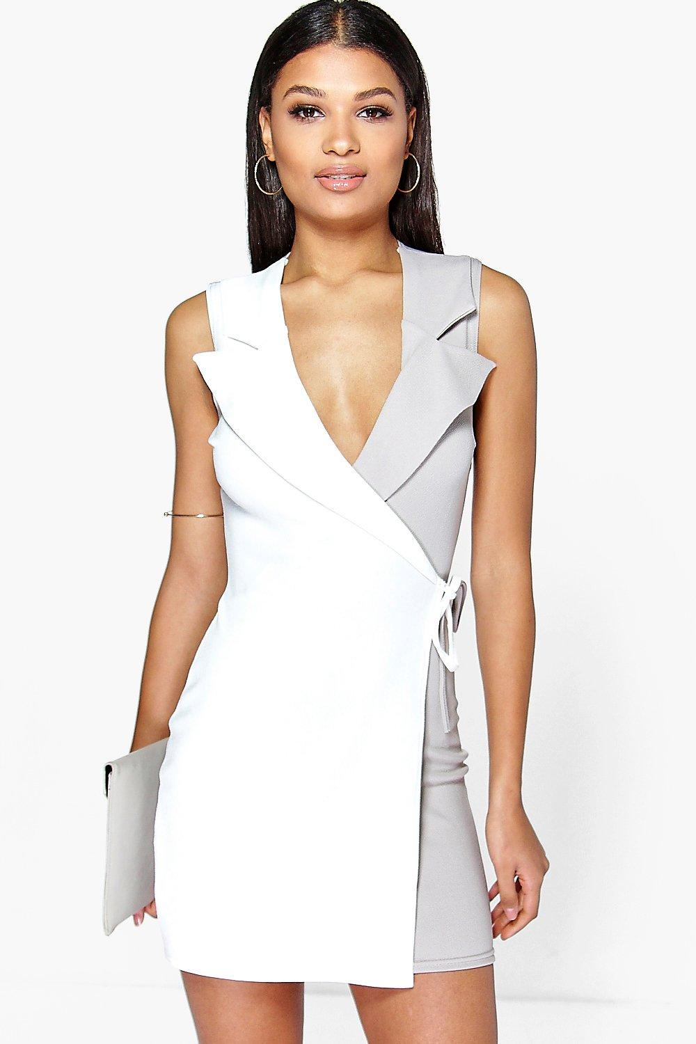 Gisele Tuxedo Style Wrap Bodycon Dress
