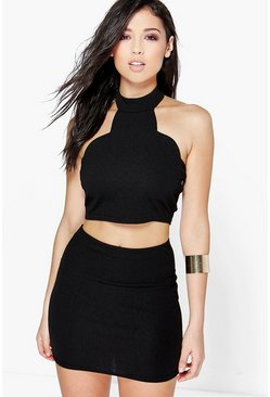 Aria Scallop High Neck Mini Skirt Co-Ord Set