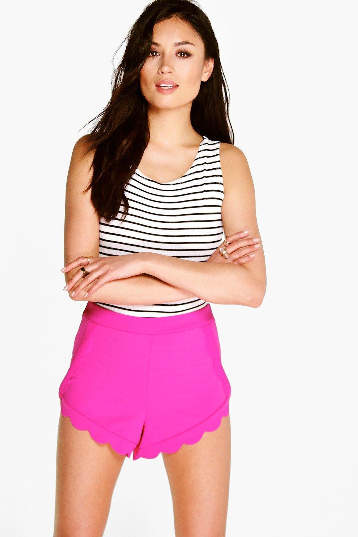 Scalloped Trim Shorts - pink