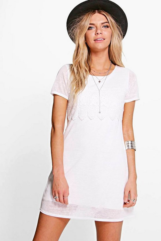Arianna Cap Sleeve Lace Trim Shift Dress