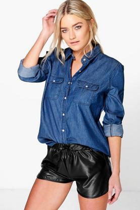 Lisa Slim Fit Western Style Denim Shirt