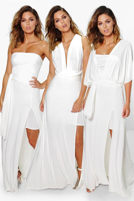 Multiway Side Split Skirt Maxi Dress - ivory