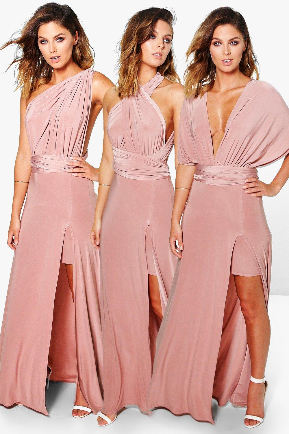 Multiway Side Split Skirt Maxi Dress rose