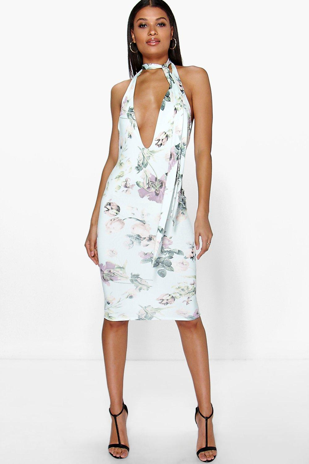 Ashlee Floral Plunge Tie Neck Midi Dress