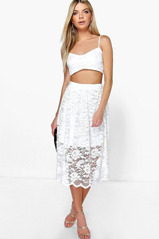 Amara Lace Bralet & Full Midi Skirt Co-Ord Set