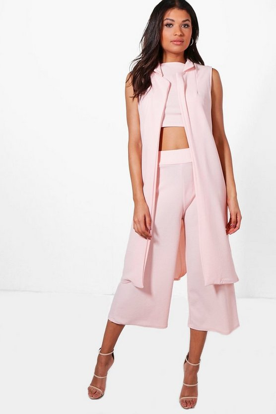 3 Piece Crop Culotte & Duster Co-Ord Set
