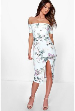 Jessy Floral Print Off The Shoulder Midi Dress