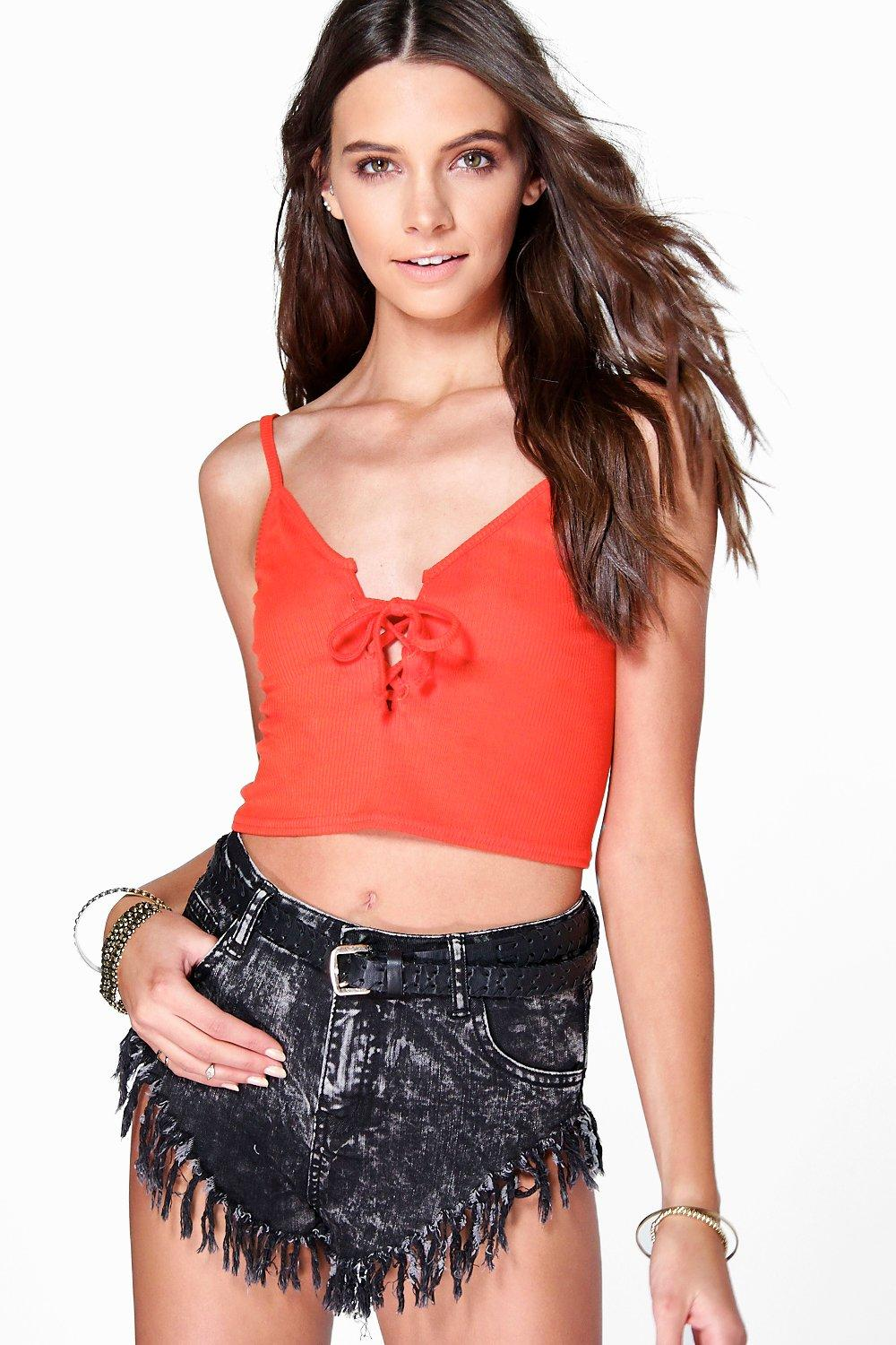Lace Up Ribbed Crop Cami orange