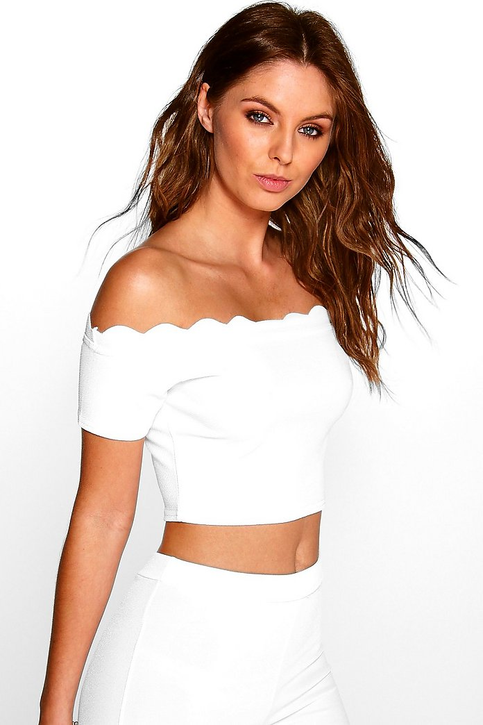Freya Scallop Bardot Half Sleeve Top