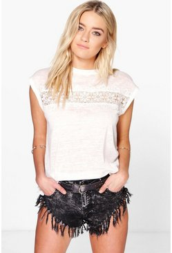 Lacey Crochet Trim Oversized Knitted Tee