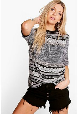 Holly Mono Aztec Fringe Top