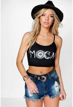Summer Moon Slogan Print Crop Top