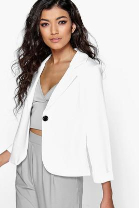 Holly Button Scuba Turn Up Cuff Blazer