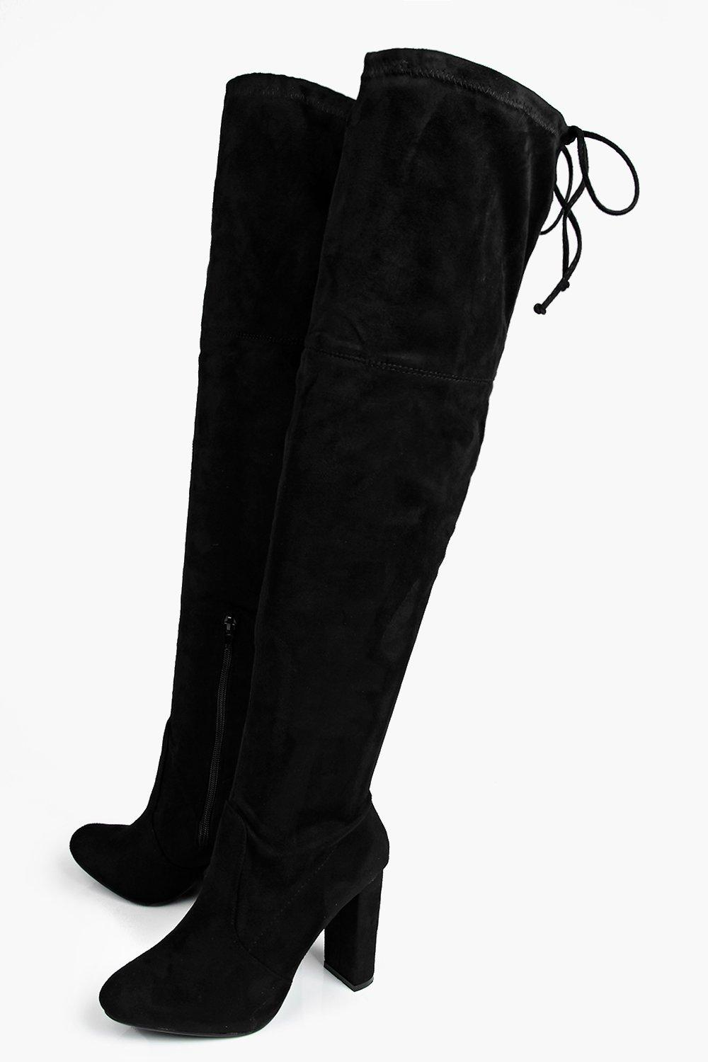 Mia Block Heel Lace Up Back Over Knee Boot | Boohoo