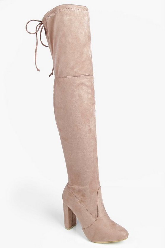 Mia Block Heel Lace Up Back Thigh High Boots