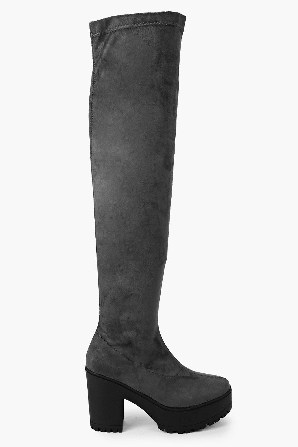 Tia Cleated Block Heel Over The Knee Boot