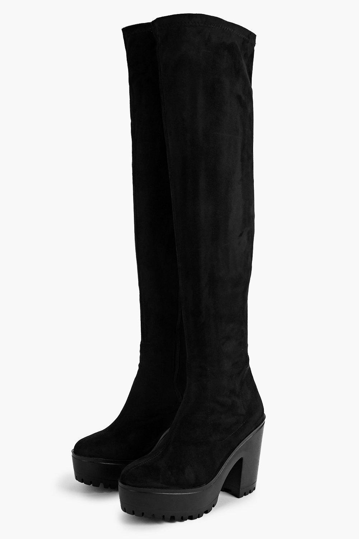 Laura Over The Knee Block Heel Cleated Boot | Boohoo