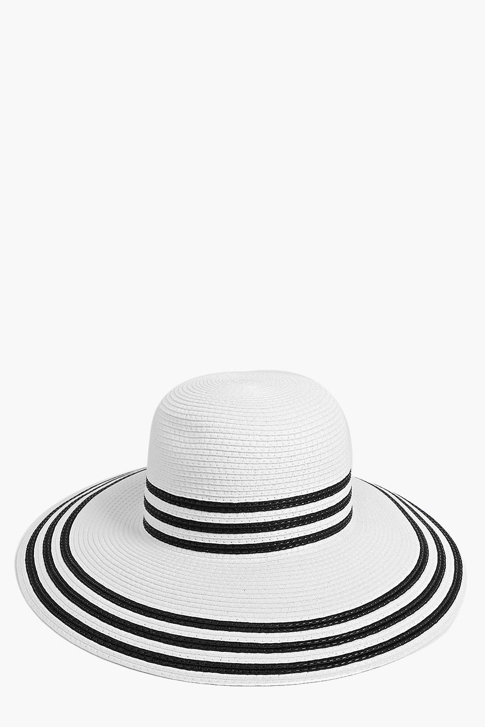 Stripe Edge Straw Floppy Hat white