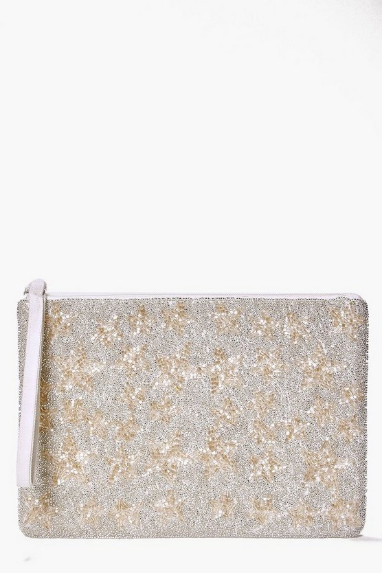 Boutique Ava Star Embellished Beaded Clutch