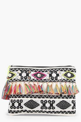 Bella Aztec Embellished Tassel Clutch Bag
