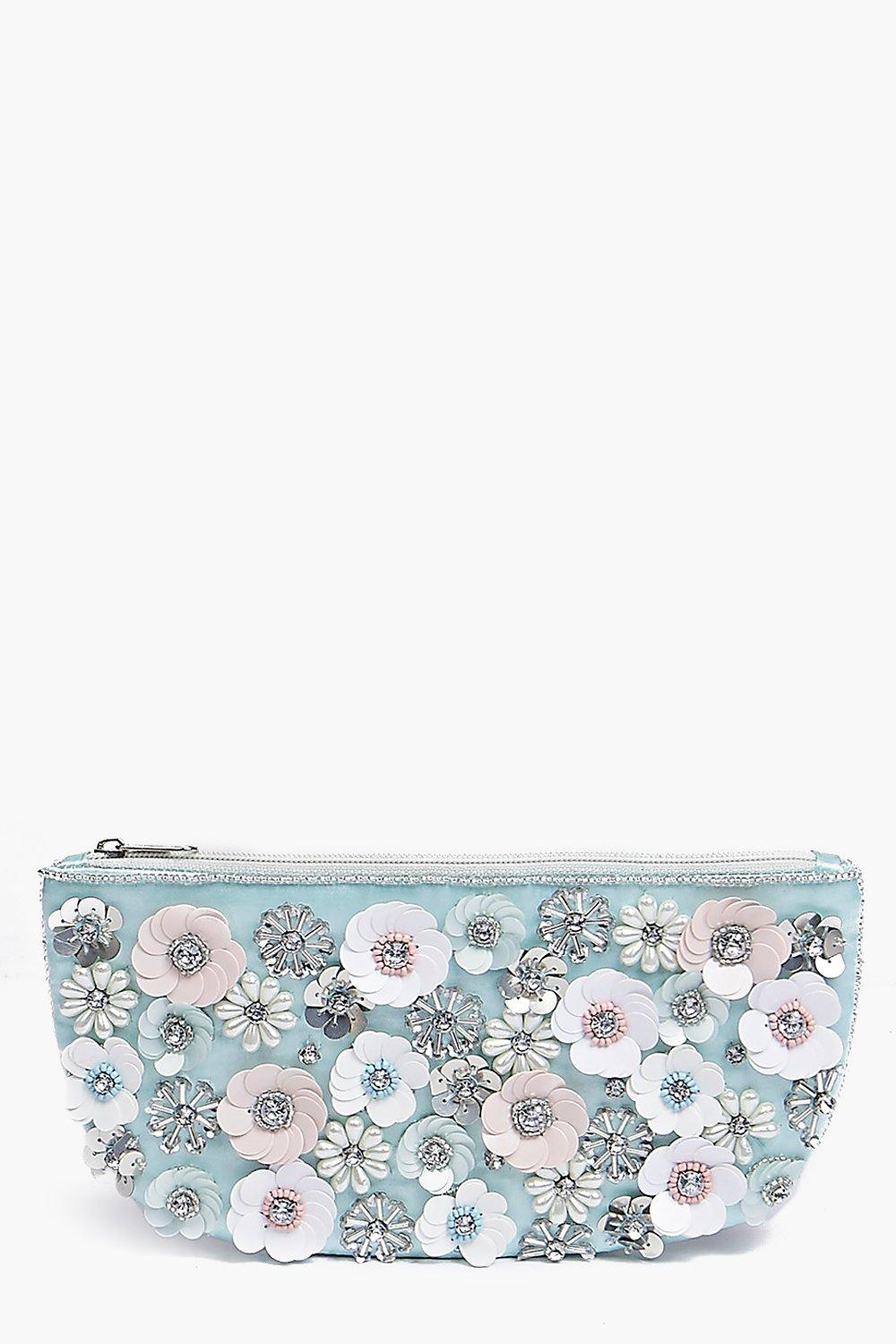 3D Floral Embellished Clutch Bag multi