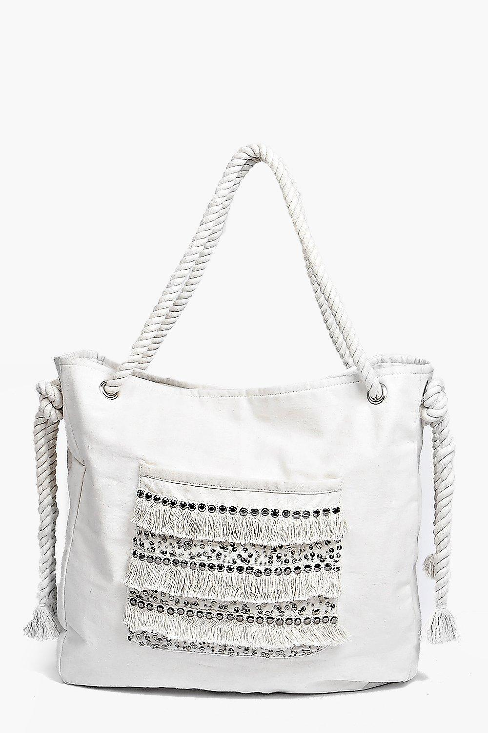Boutique Moroccan Sequin Fringed Beach Bag