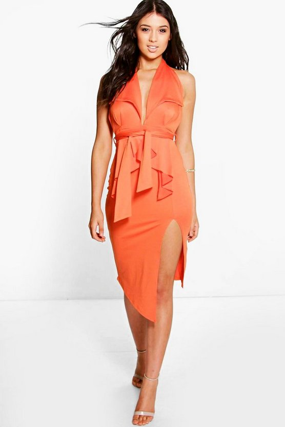 Charlotte Tie Drape Detail Thigh Split Midi Dress