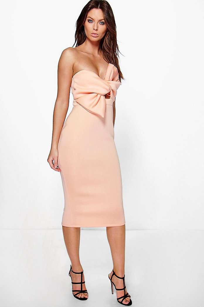 Noreen Bow Knot Front Detail Midi Dress