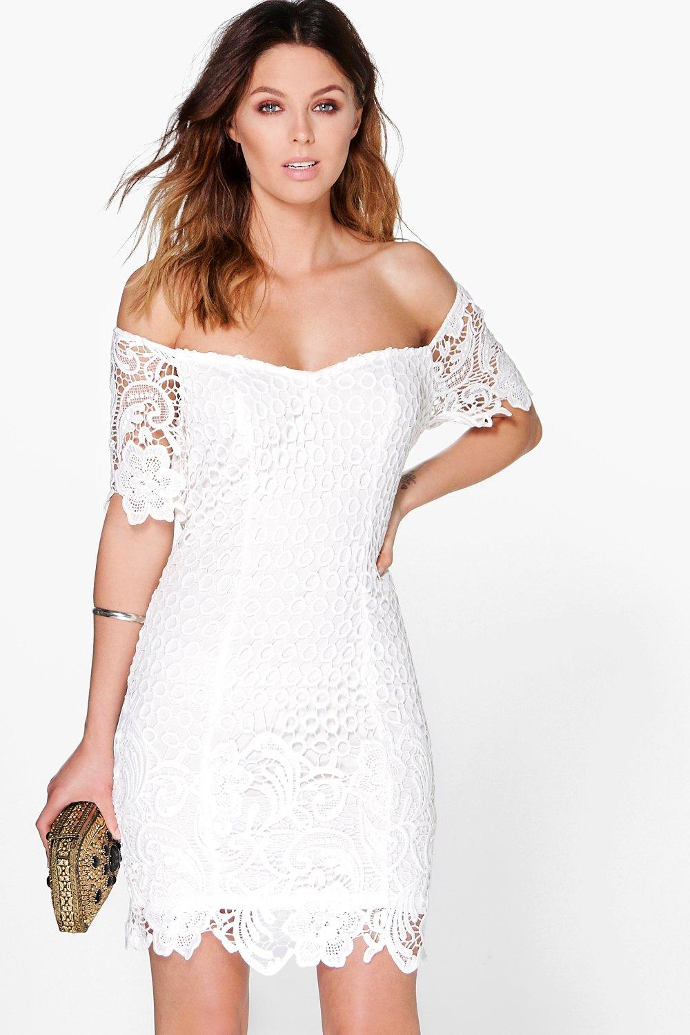 Boutique Daisy Floral Crochet Off Shoulder Dress