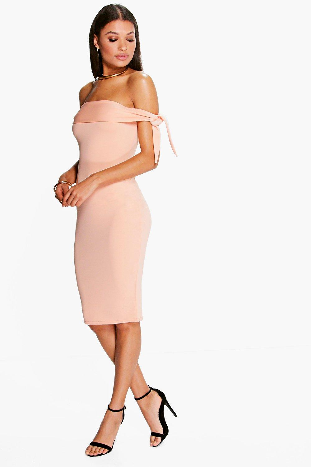 Caramela Off Shoulder Tie Sleeve Midi Dress