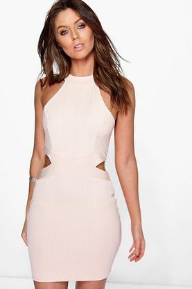 Eva High Neck Waist Bandage Bodycon Dress