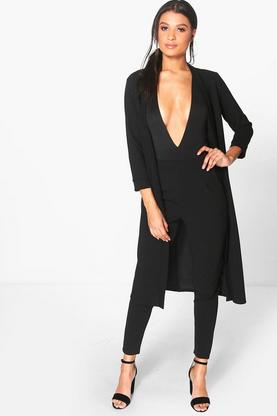 Harriet Collarless Scuba Crepe Duster