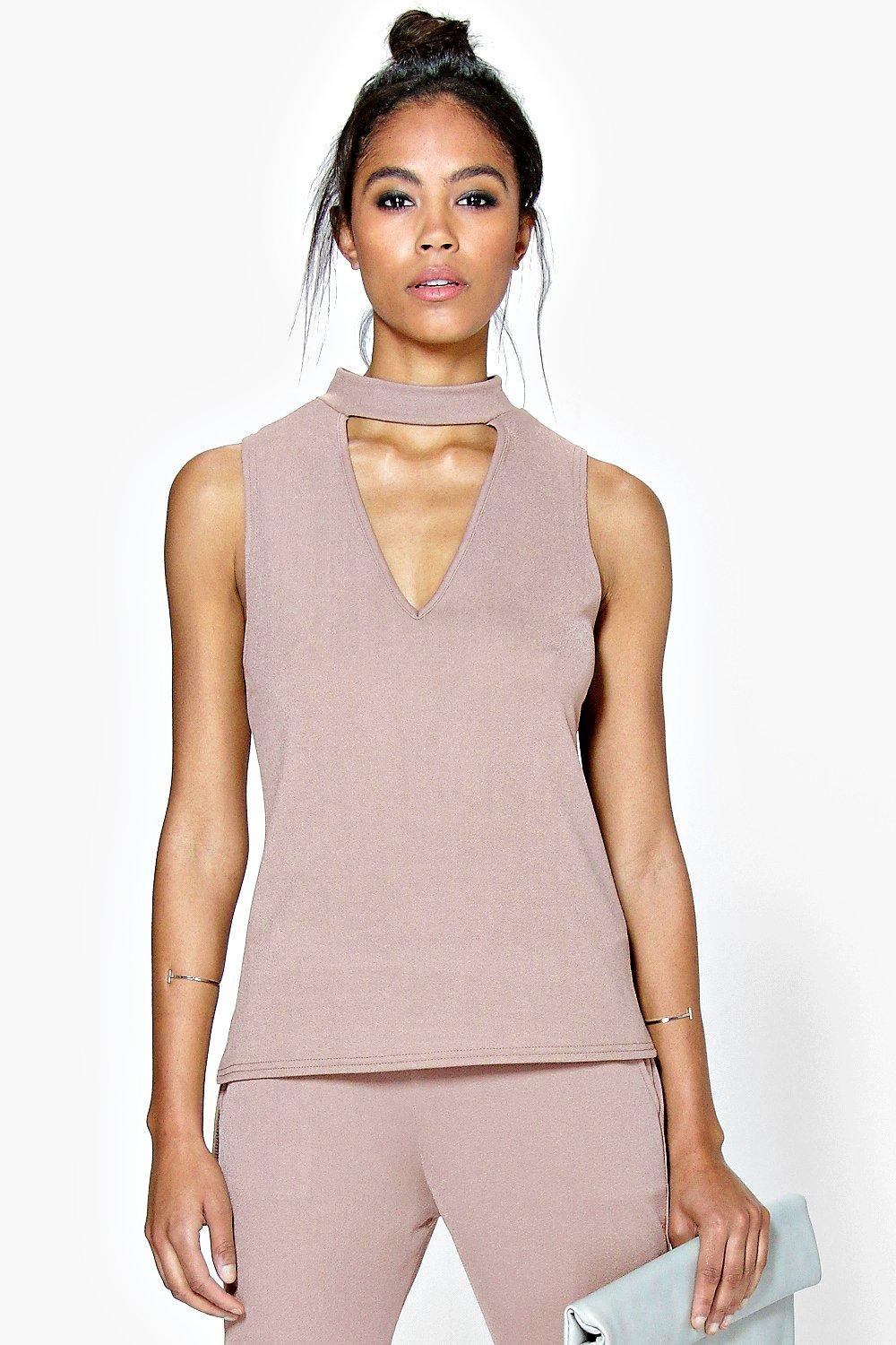 Elisa Cut Out Choker Sleeveless Top