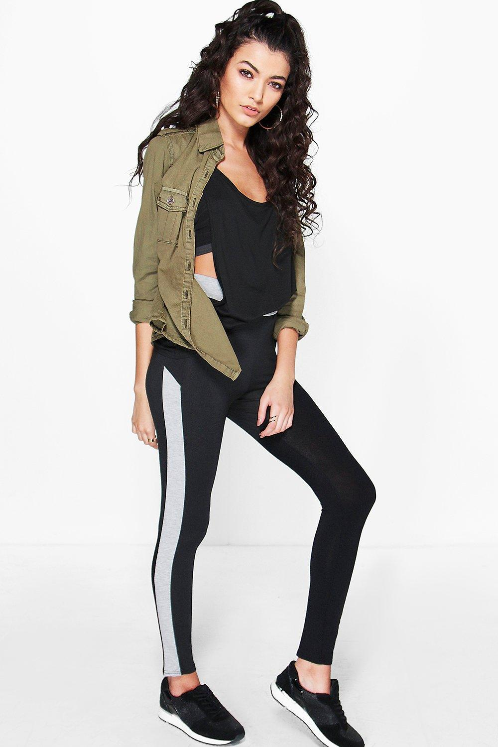 Royah Contrast Waist And Panel Basic Leggings