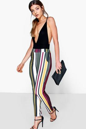Alia Bold Colour Stripe Skinny Trousers