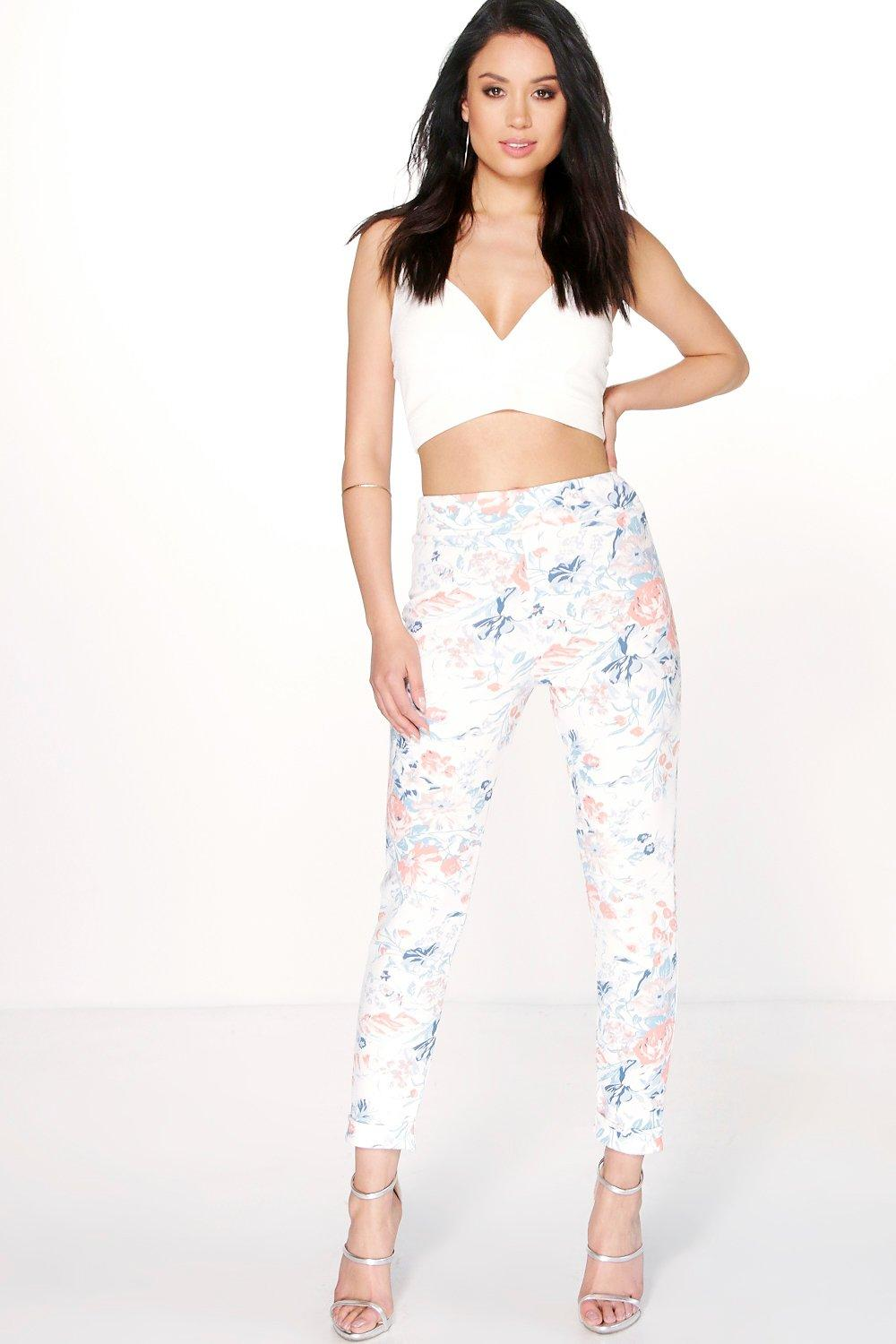 Analia Pastel Floral Turn Up Skinny Trousers