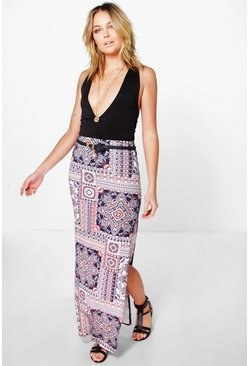 Suri Turkish Bohemian Tile Print Maxi Skirt