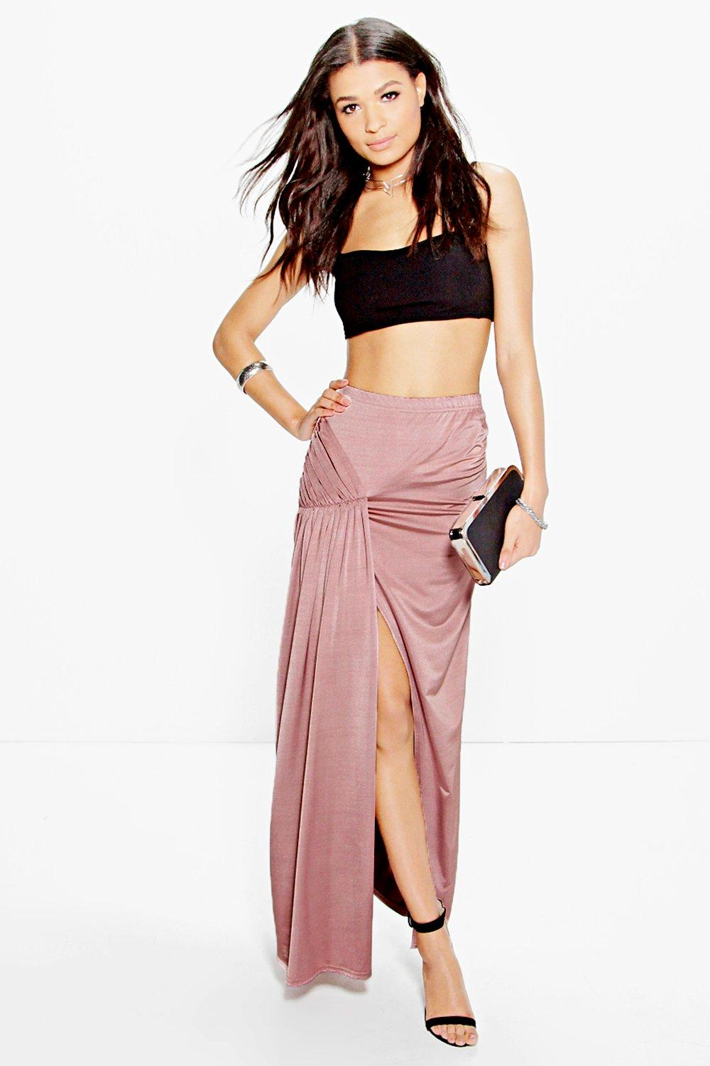 Anya Drape Pleat Split Side Maxi Skirt
