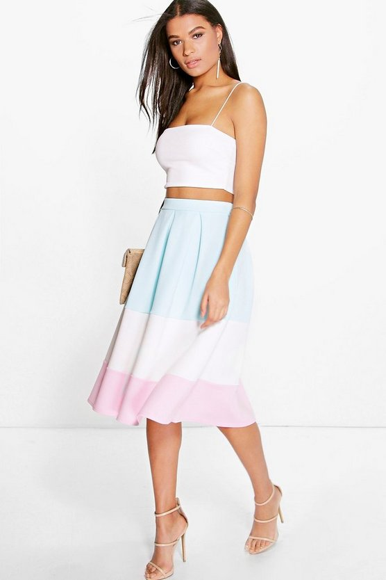 Analia Pastel Colour Block Full Midi Skirt