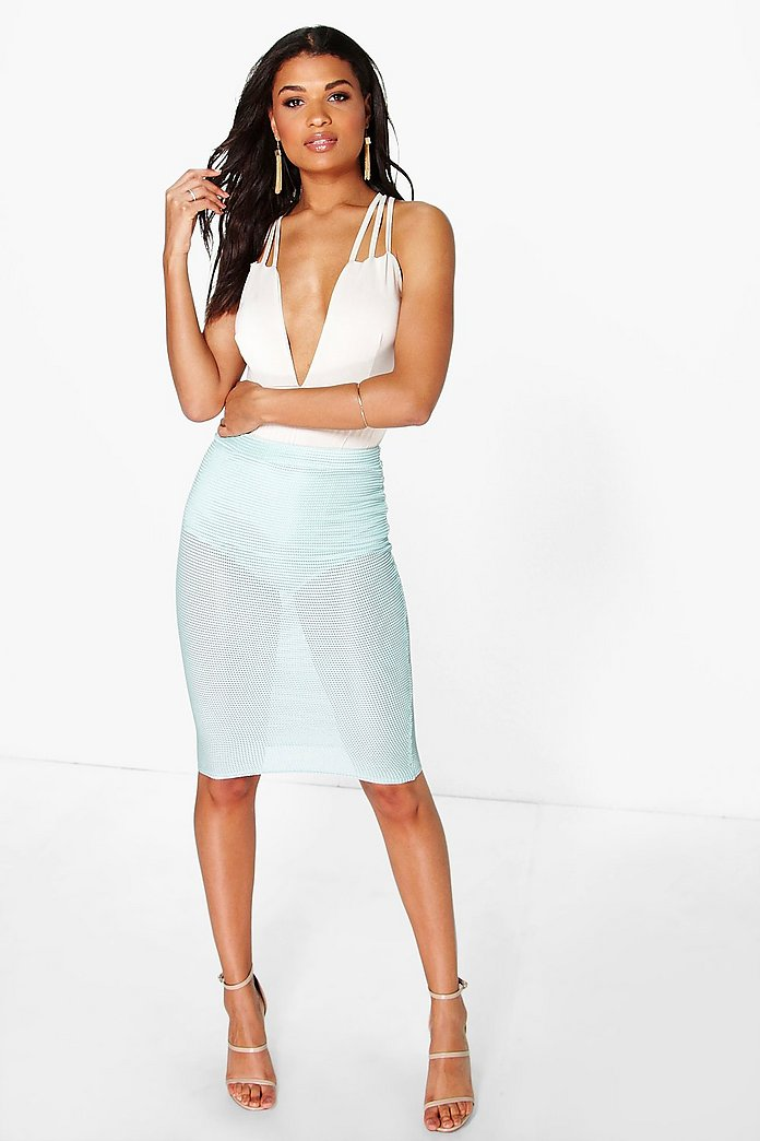 Ella Mini Grid Midi Skirt