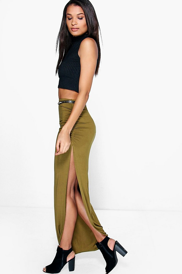 Micha Rouched Side Jersey Maxi Skirt