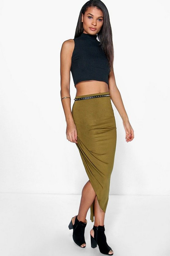 Sophie Draped Jersey Maxi Skirt