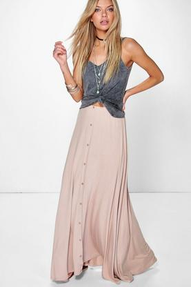 Ruby Button Front Maxi Skirt